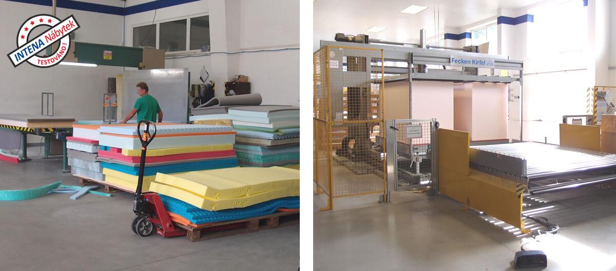 Výroba matrace - tvarování pěny